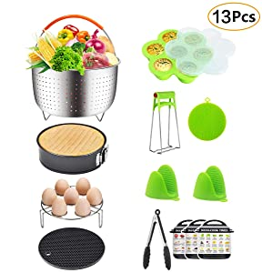 13 Pieces Accessories Set Fits 6, 8 Qt InstaPot, Ninja Foodi, Other Pressure Cookers, with Steamer Basket, Springform Pan, Egg Bites Mold, Oven Mitts and More Fits Instant Pot Accessories Set