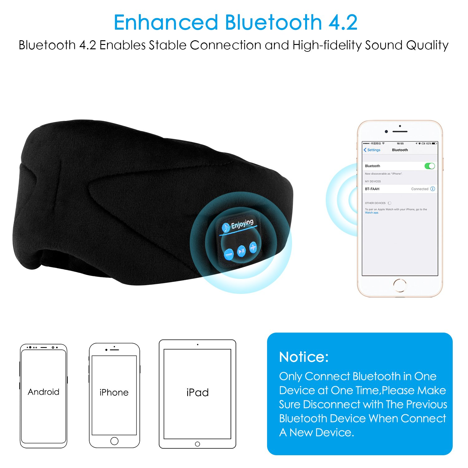 ink-topoint Bluetooth Sleep Eye Mask Headphones, Sleeping Eye Shades Bluetooth 4.2 Music Headset Wireless Sleep Mask with Built-in Speaker Washable for Traveling Relaxing