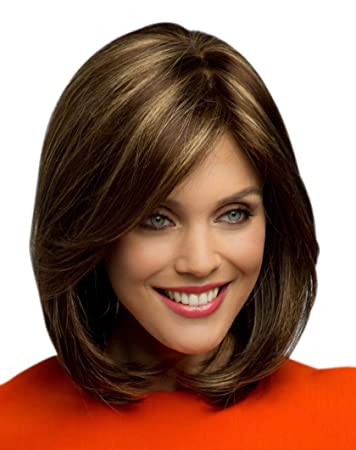 Kalyss Women s Short Straight Bob Style Yaki Synthetic Medium Brown mix  Blonde Highlights Hair wigs for 83c74938d3