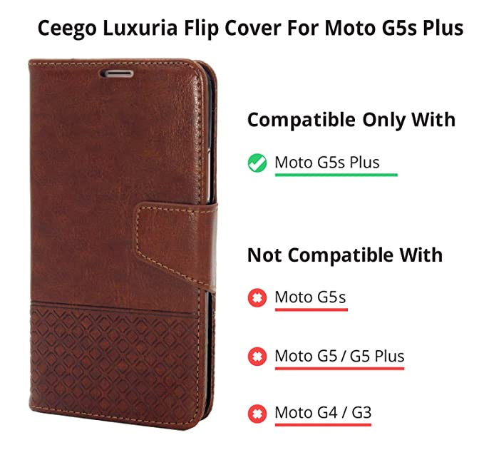 Ceego Luxuria Wallet Flip Cover for Moto G5S Plus (Walnut Brown)
