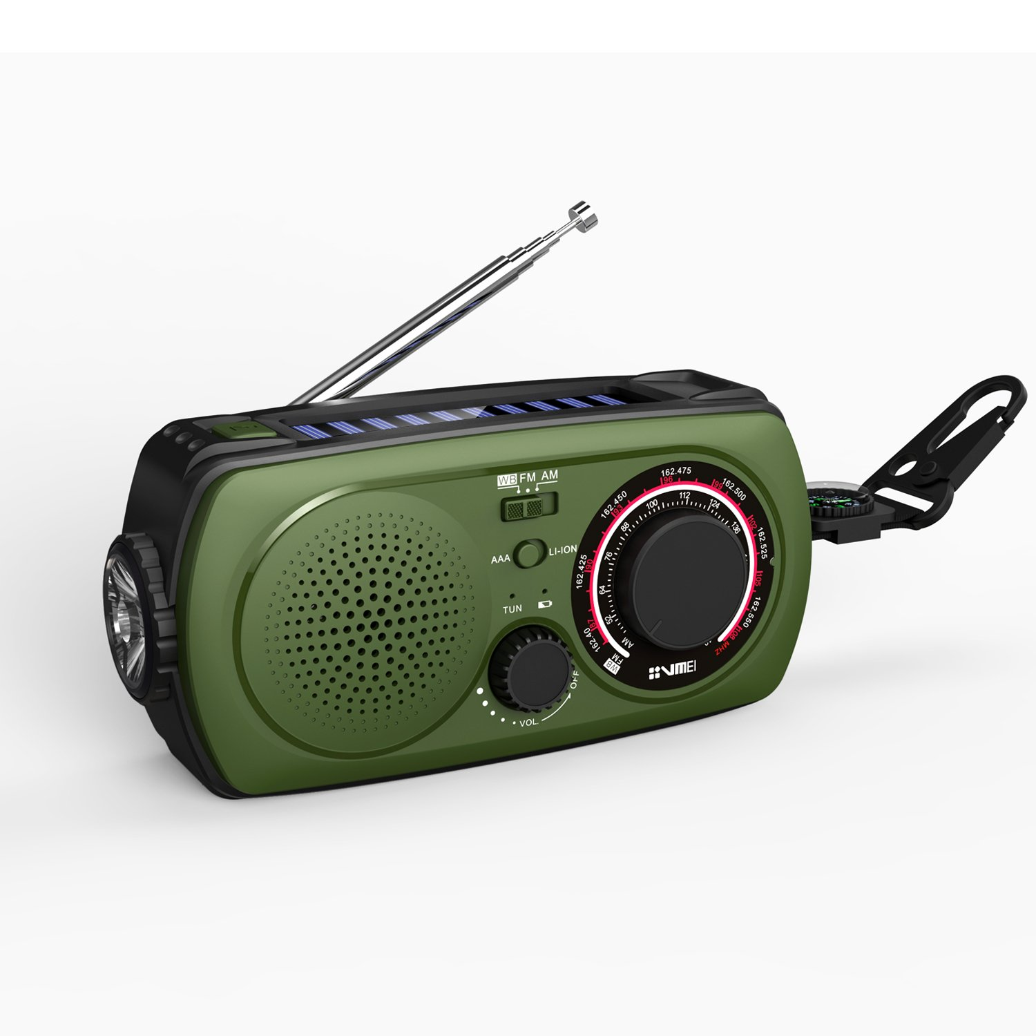 Emergency Radio with Solar and Crank charger -VMEI Noaa Weather Camp radio with 2200mAh Emergency cell phone power bank, Glare flashlight,SOS help flashing lights and Compass( Green).