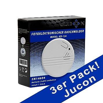 gepr/üft nach EN 14604 3er-Set Funkrauchmelder Jucon Feuermelder