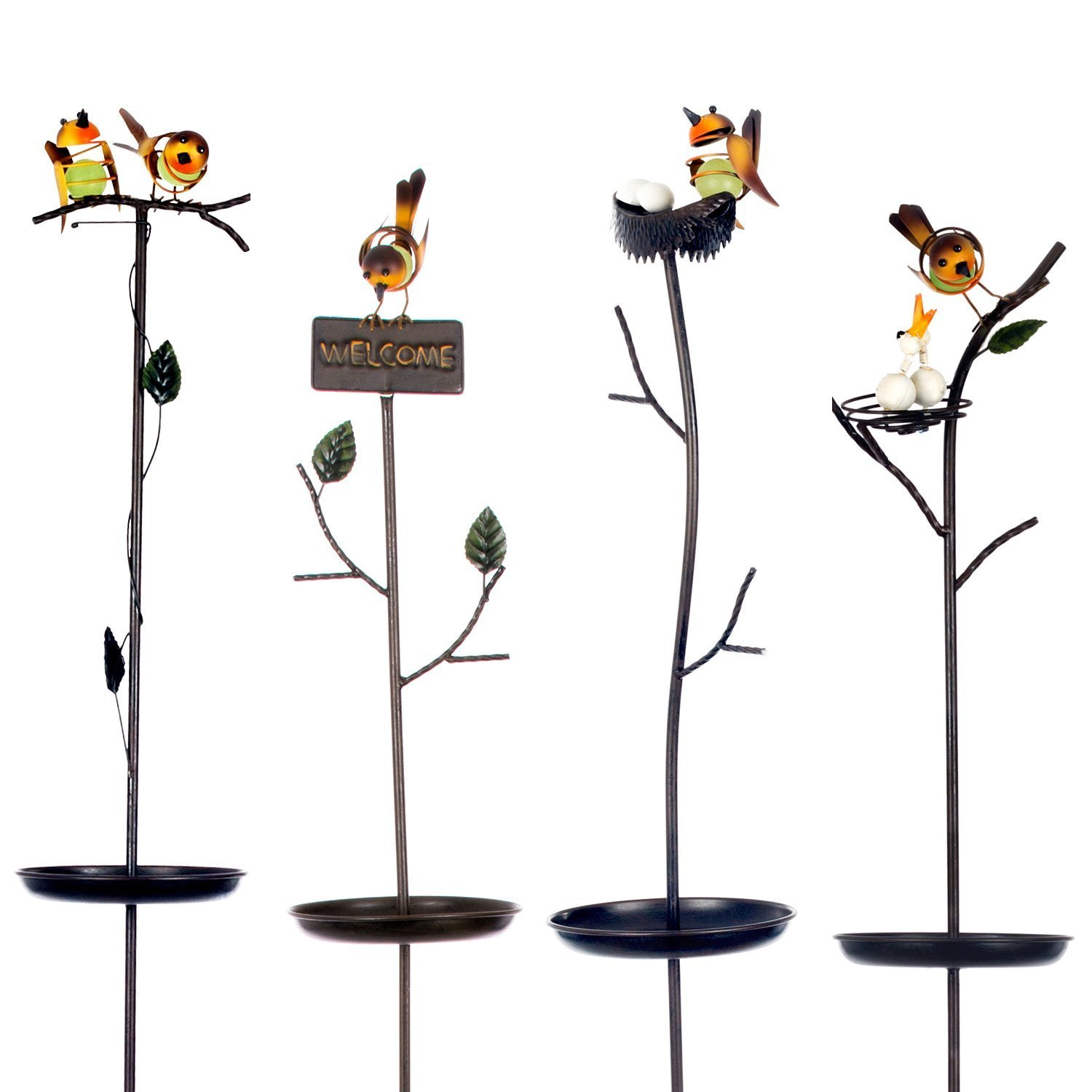 4 x Bird Feeding stations - Ornate metal design with welcome sign Oakthrift