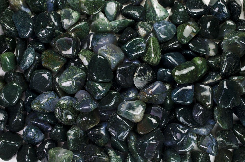Fantasia Materials: 11 lbs Tumbled Green Moss Agate ''AA'' Grade Stones from India - Large 1'' Bulk Natural Polished Gemstone Supplies for Crafts, Reiki, Wicca and Energy Crystal HealingWholesale Lot