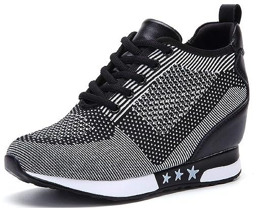 3b9cdfe29c9bbf tqgold Donna Scarpe da Ginnastica Sportive Fitness Basse Sneakers Zeppa  Interna 8CM Nero Grigio Taglia 33