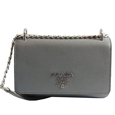 1b94f7ec2e6 Image Unavailable. Image not available for. Color: Prada Silver Gray  Saffiano Leather Designer Shoulder Bag ...
