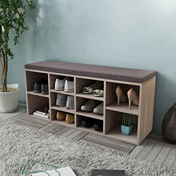 Weibo Wooden Shoe Storage Bench Shoe Cabinet With Seat Cushion