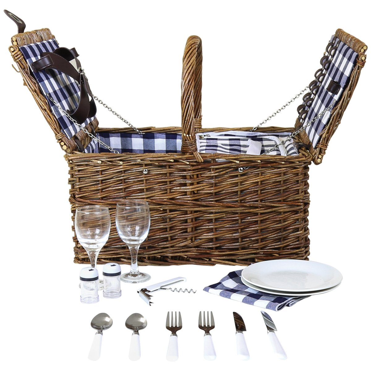 Charles Bentley 2 Person Willow Wicker Picnic Basket Set Including Cutlery, Plates, Glasses, Cool Bag, Corkscrew, Salt & Pepper Pots, Napkins