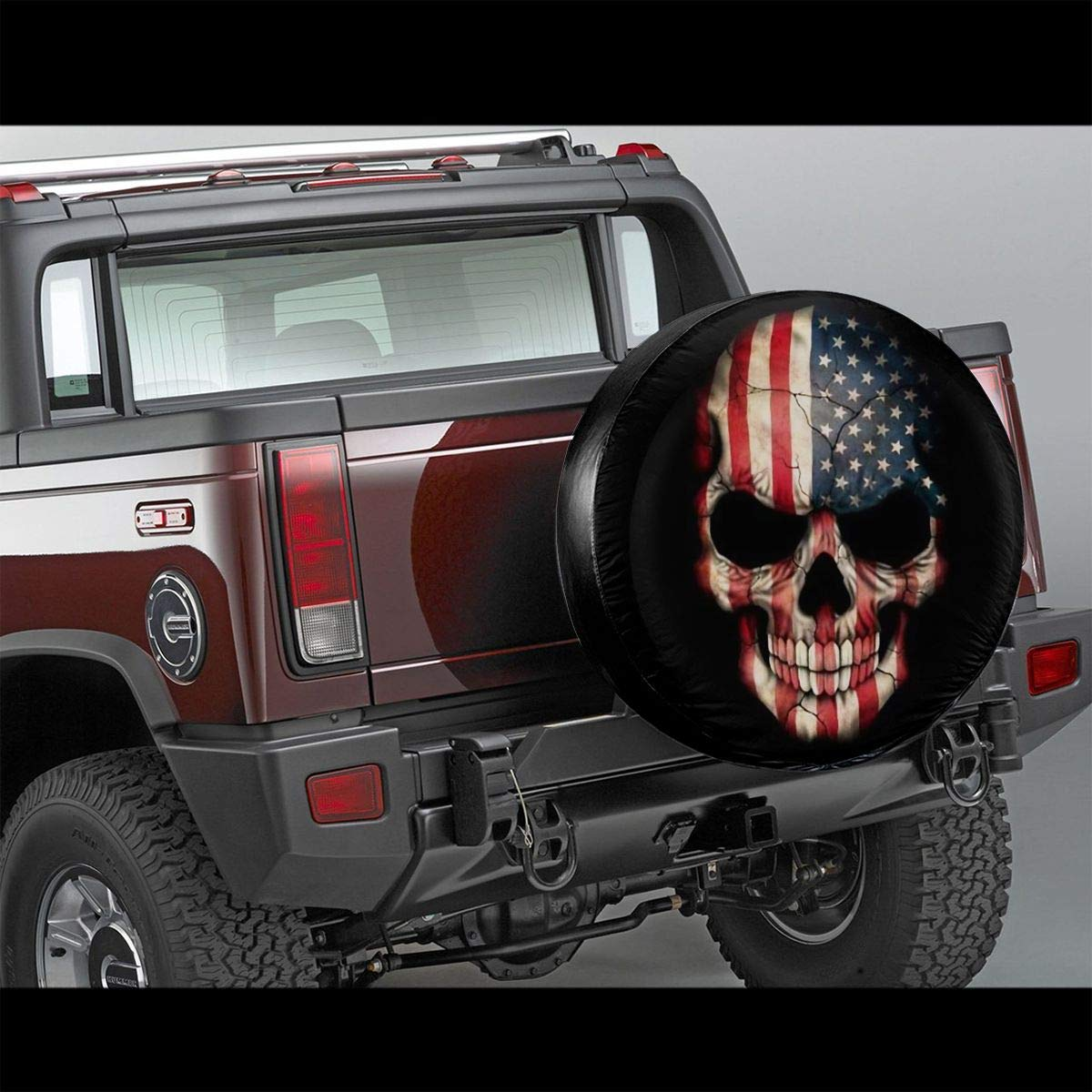 American Honourable Flag Skull Polyester Universal Spare Wheel Tire Cover Wheel Covers for Jeep Trailer RV SUV Truck Camper Travel Trailer Accessories Vbnbvn Reserveradabdeckung 14,15,16,17 Inch
