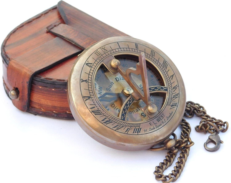 NEOVIVID Brújula de reloj de sol de latón con caja de cuero y cadena, brújula abierta, accesorio steampunk, acabado envejecido, hermoso regalo hecho a mano, reloj de reloj de sol