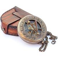 NEOVIVID Messing Sundial Kompas met Leren Kast en Ketting - Push Open Kompas - Steampunk Accessoire - Oude Afwerking…