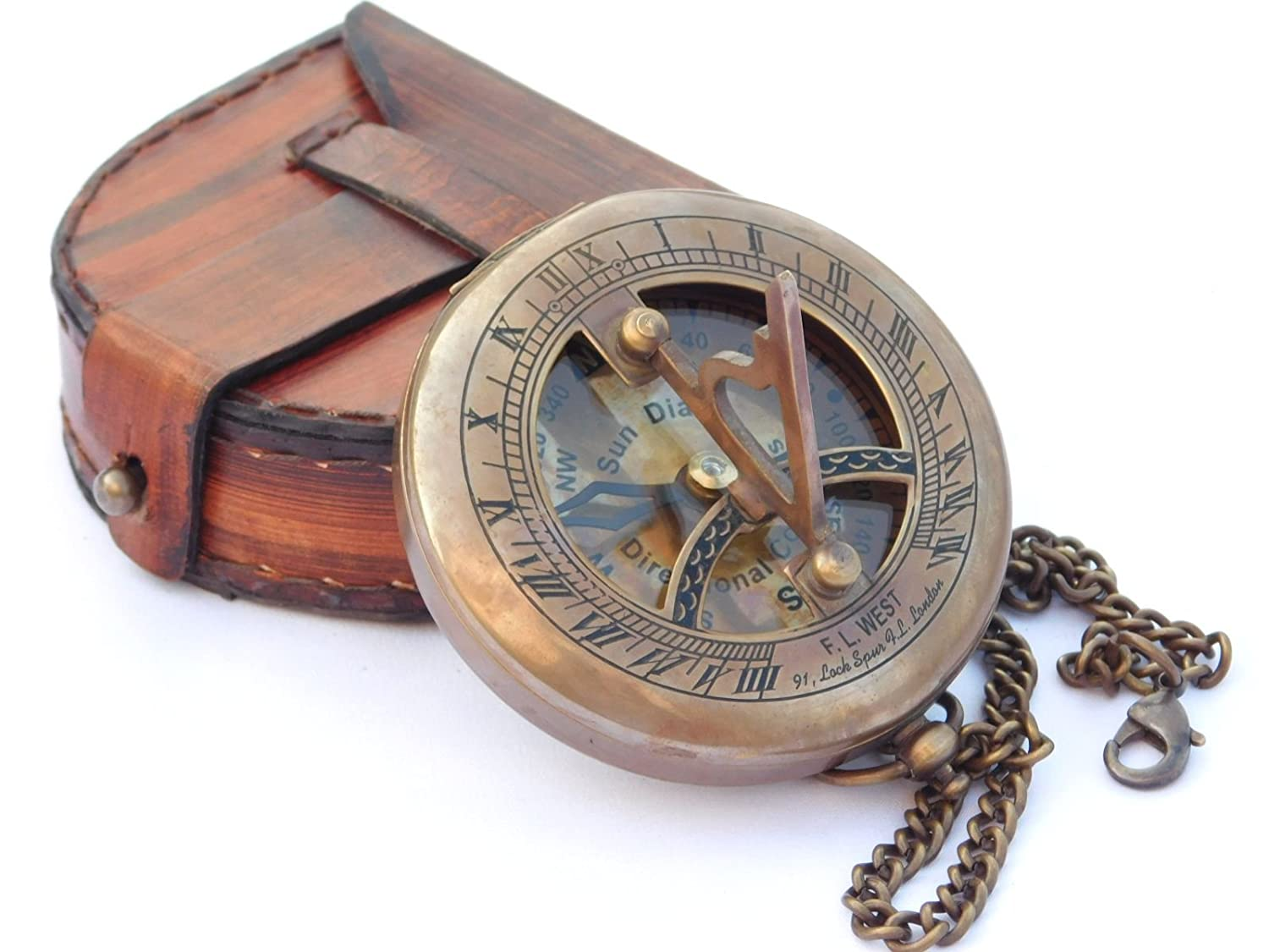 Men's Steampunk Goggles, Guns, Gadgets & Watches NEOVIVID Brass Sundial Compass with Leather Case and Chain - Push Open Compass - Steampunk Accessory - Antiquated Finish - Beautiful Handmade Gift -Sundial Clock $29.90 AT vintagedancer.com