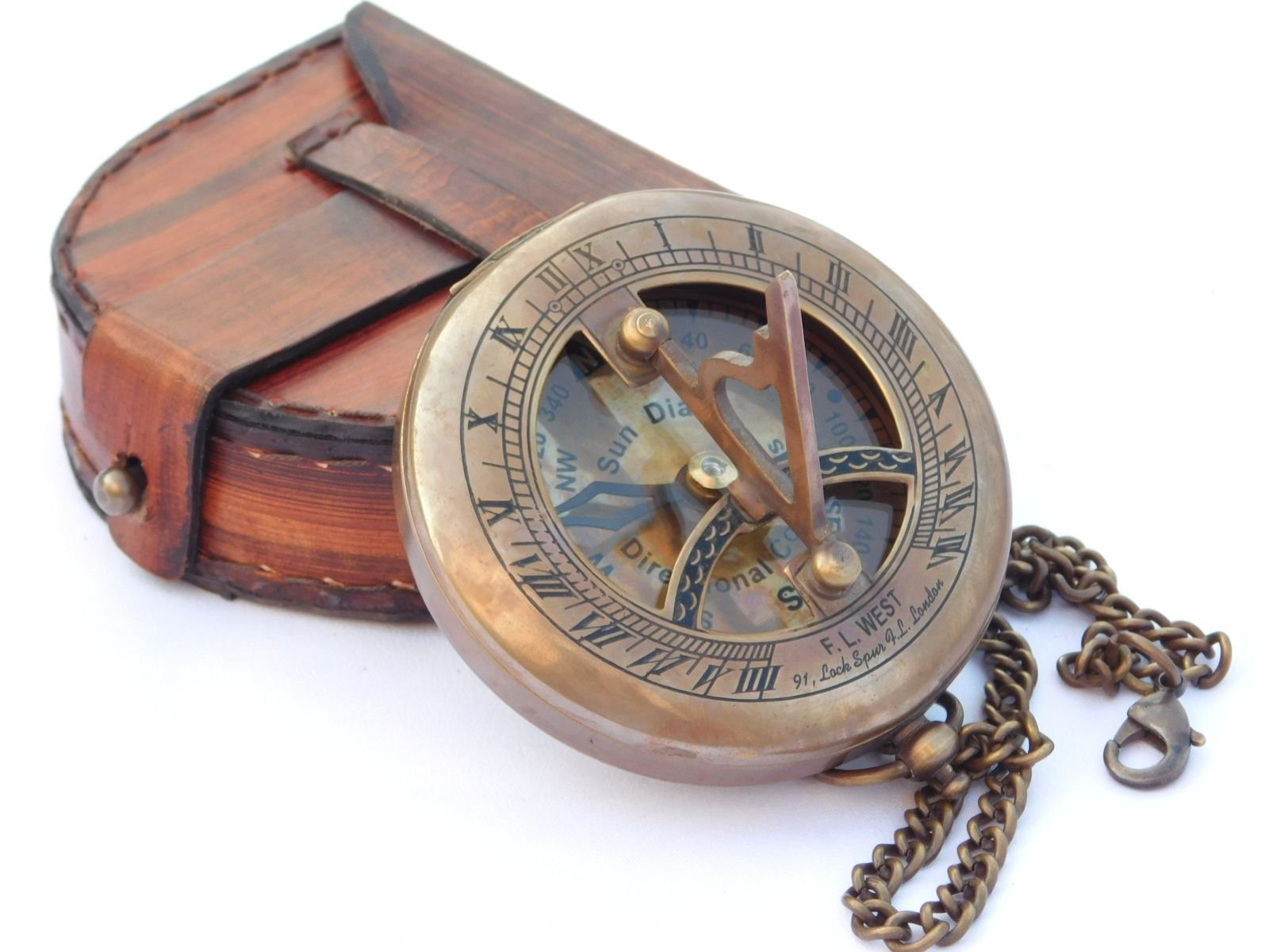 NEOVIVID Brass Sundial Compass with Leather Case and Chain - Push Open Compass - Steampunk Accessory - Antiquated Finish - Beautiful Handmade Gift -Sundial Clock by NEOVIVID