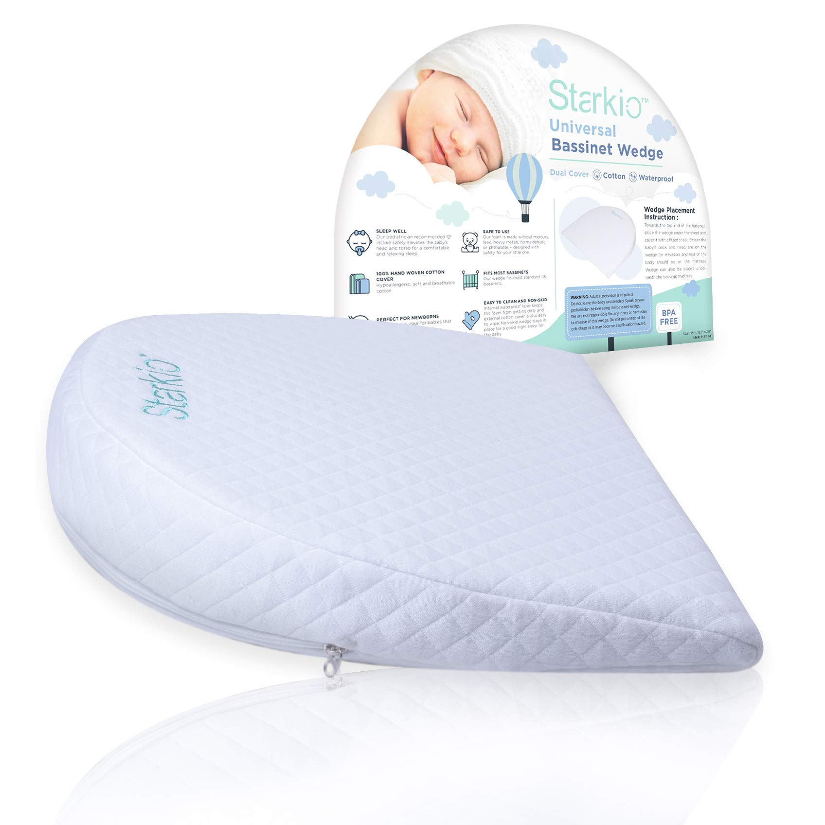 Starkio Bassinet Wedge For Baby Reflux Relief | Infant Gerd Wedge Sleeper Pillow | Newborn Crib Elevated Incline Insert Sleep Positioner | Pregnancy Pillow Wedge | Memory Foam & Removable Cotton Cover by Starkio