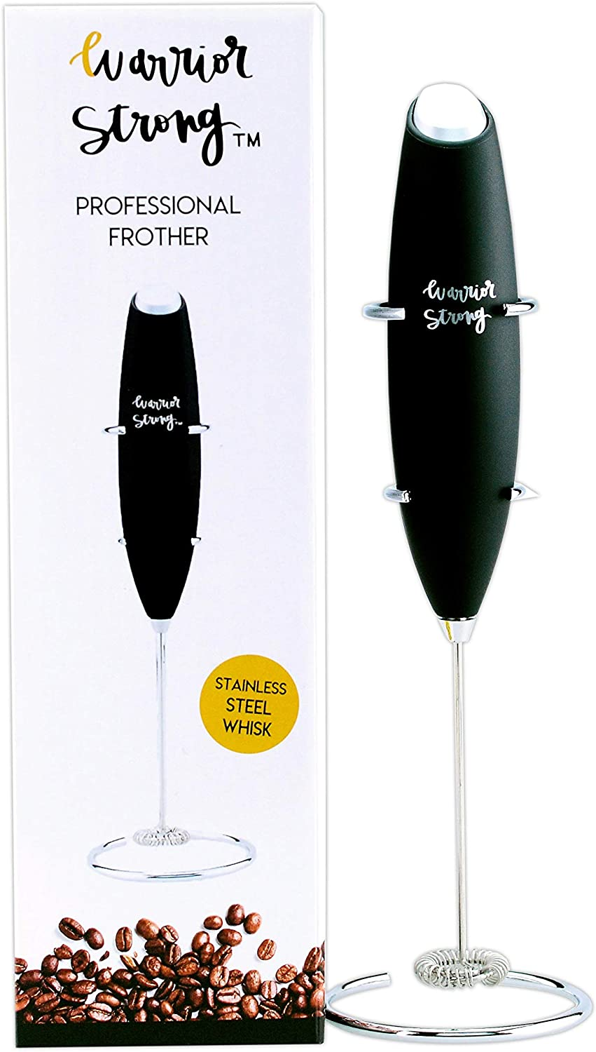 Premium Coffee and Collagen Frother and Stand by Top Rated Warrior Strong Wellness Handheld Battery Operated Electric Foam Maker For Drinks, Tea, Latte, Cappuccino, Hot Cocoa and Stirring Collagen Powder Into Coffee, Durable Drink Mixer With Stainless Steel Whisk, Stainless Steel Stand Included