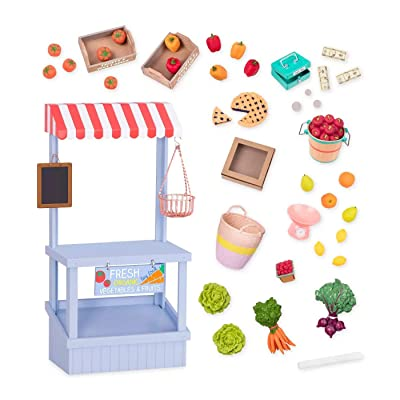 Our Generation- Deluxe Farmer's Market Set Grocery- Accessory Set for 18 inch Dolls- Ages 3 Years and Up: Toys & Games