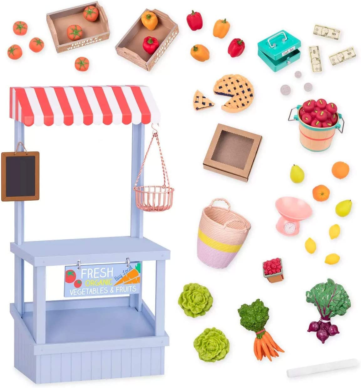 Our Generation- Deluxe Farmer's Market Set Grocery- Accessory Set for 18 inch Dolls- Ages 3 Years and Up