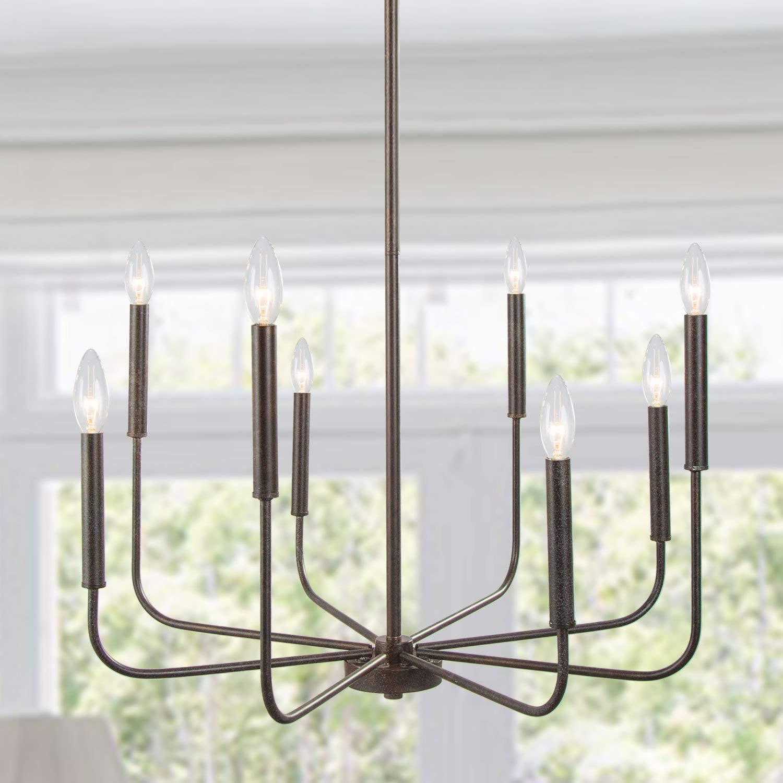 LALUZ Chandeliers for Dining Room Kitchen Island Lighting Hanging Fixture 8 Arms, 26 inches Diameter, Rust Bronze - -