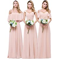 CLOTHKNOW Chiffon Bridesmaid Dresses Long for Women Girls to Wedding Party Gowns