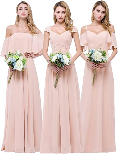 quite nice authorized site best prices CLOTHKNOW Chiffon Bridesmaid Dresses Long for Women Girls to Wedding Party  Gowns