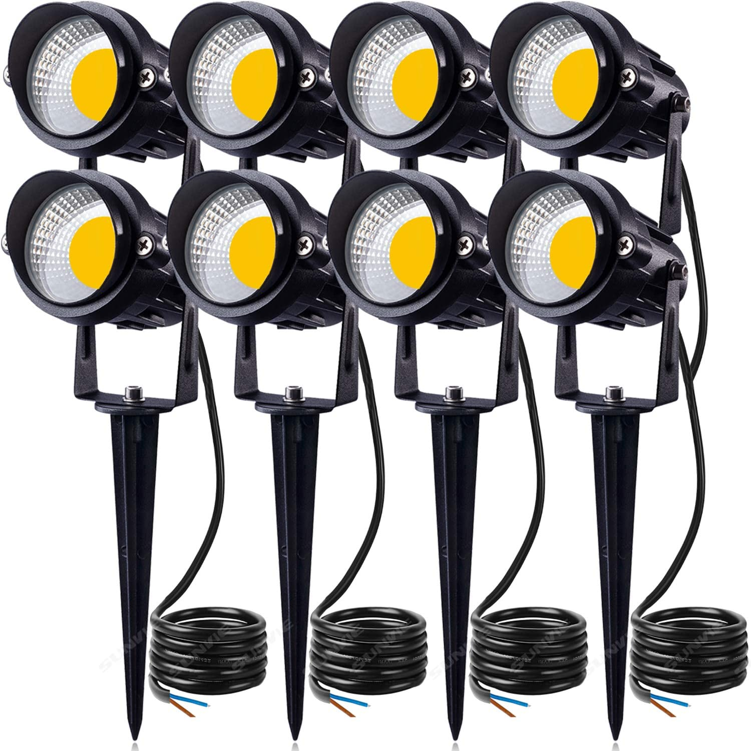 Sunvie 12w Led Landscape Low Voltage Ac Dc 12v Waterproof Garden Pathway Lights Super Warm White 900lm Walls Trees Flags Outdoor Spotlights With Spike Stand 8 Pack Amazon Ca Patio Lawn Garden