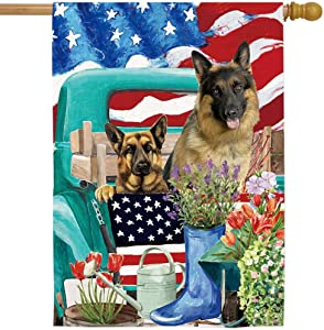 AOKDEER Shepherd House Flags Retro Cars American Flag Garden Banner Burlap Dog Flags 28 x 40 Inch Decorative House Yard Decoration