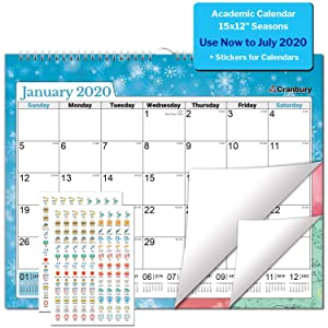 School Year Wall Calendar 2019-2020 (Seasons) 15x12, Use to July 2020, Large Wall Calendar, Hanging Academic Calendar with Stickers for Calendars, for Home, Office, or Dorm Room