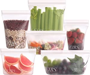 Dishwasher Safe Reusable Storage Bags, Full Set 6, Stand Up Reusable Freezer Bags, Silicone Food Storage Bags, Leakproof, Eco-Friendly, Non-Toxic, BPA Free, Freezer-Safe, White