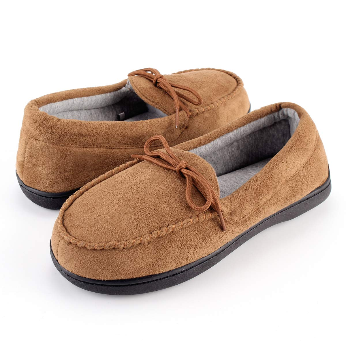 KomForme Men' s Memory Foam Slipper, Suede Moccasin Slip On Slipper for Indoor and Outdoor House Shoes