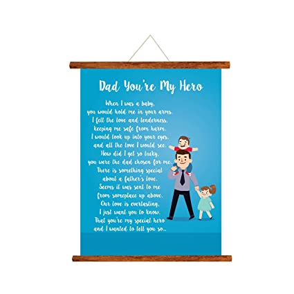 YaYa Cafe Fathers Day Greeting Cards Dad You Are My Hero Message Scroll Card For Wall Hanging Decor