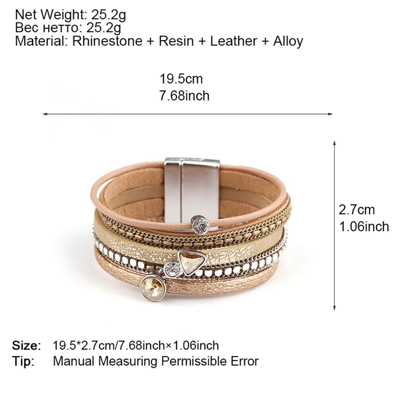 freedomer Multilayer Leather Bracelets for Women Trendy Rhinestone Crystal Charm Femme Wide Bracelets Bangles Female Jewelry
