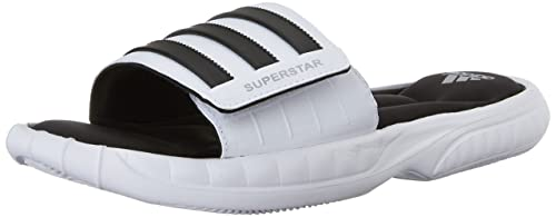 new style e7629 d8490 Adidas Mens Superstar 3G Slide Sandals, 8 M US (White, Black, Silver