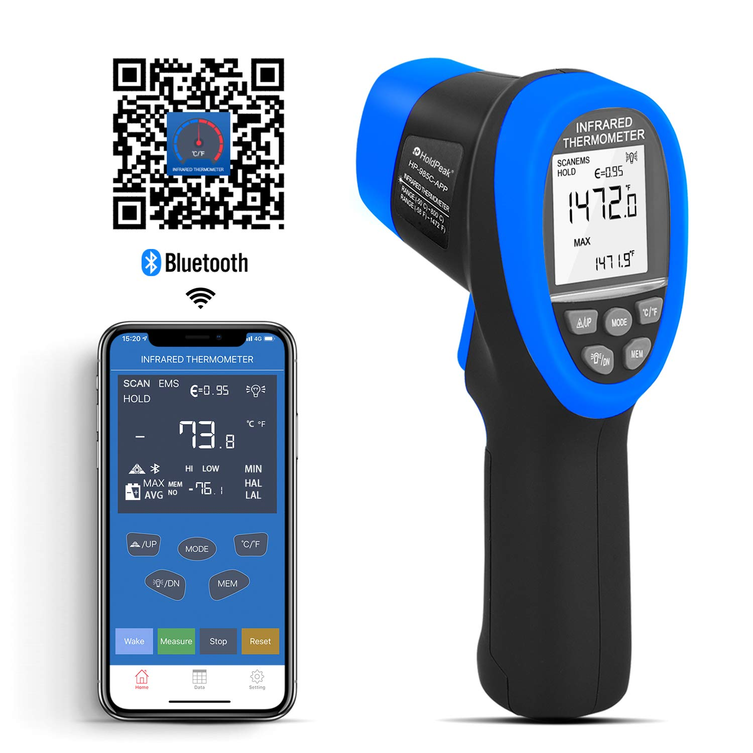 HOLDPEAK HP-985C-APP Infrared Thermometer Gun Connect to Your Phone via Bluetooth with APP,Non-Contact IR Temperature Gun -58 to1472℉(-50 to 800℃),DS 16:1 with Adjustable Emissivity for Forge Kiln by H HOLDPEAK