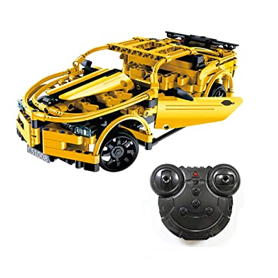 The perseids RC Sports Racing Car Building Kit Toy in Yellow 419 pcs USB Rechargable with 2.4 Ghz Remote Controller, Gift for Kids Boys 6-14 Years Old: Toys & Games