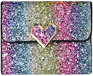Daliuing Fashion Three Fold Purse Personality Glitter Wallet Rainbow Color Cool Lock Clutch Pouch for Women Girls (Gold)
