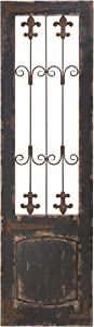"Deco 79 52726 Rustic Deep Espresso Wood and Metal Floret Wall Decor, 57"" H x 16"" L, Distressed Brown Finish"