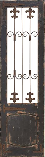 Deco 79 52726 Rustic Deep Espresso Wood and Metal Floret Wall Decor