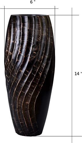 VILLACERA 83-DT5829 Handmade 14 Tall Black Mango Vase Wave Carving Silk Plants, Flowers, Filler Decor Eco-Friendly and Sustainable Wood
