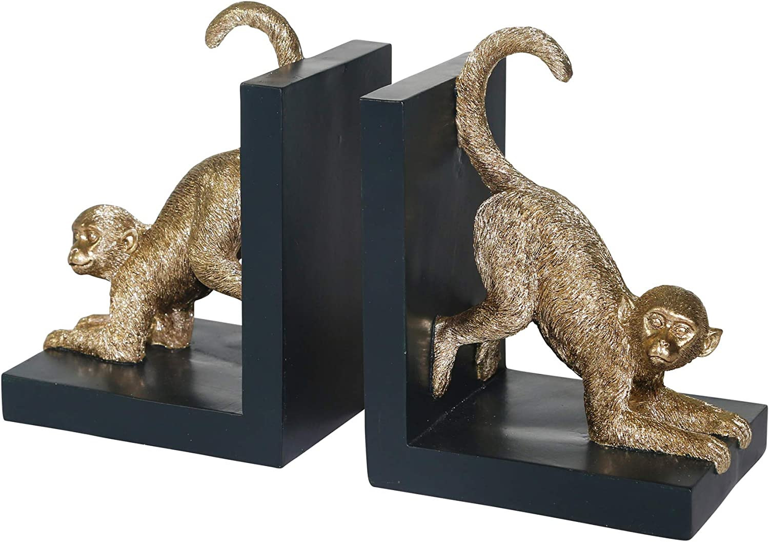 "Sagebrook Home 14701-01 Set of 2 Resin 8"" H Monkey Bookends, Gold"