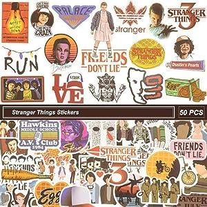 Stranger Things Water Bottle Sticker Pack of 50 Decals,Stranger Things for Laptop Sticker,Waterproof Vinyl Sticker for Computers, Hydro Flasks,Phone,Travel (Stranger Things)