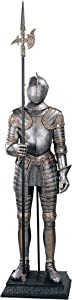 Design Toscano 16th Century Italian Armor Medieval Knight Statue, 6 Foot, Faux Pewter