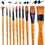 Mont Marte Art Paint Brushes Set for Painting, 10 Variety of Brushes Types for Class, Kids, Artists- Nice Art Brushes…