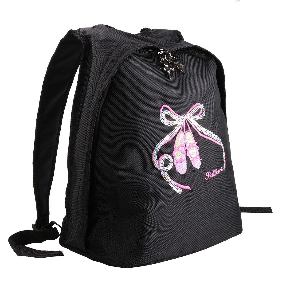 iEFiEL Girls Big Capacity Ballet Dance Tote Bag Travel Carry Shoulder Bag Black One Size by iEFiEL
