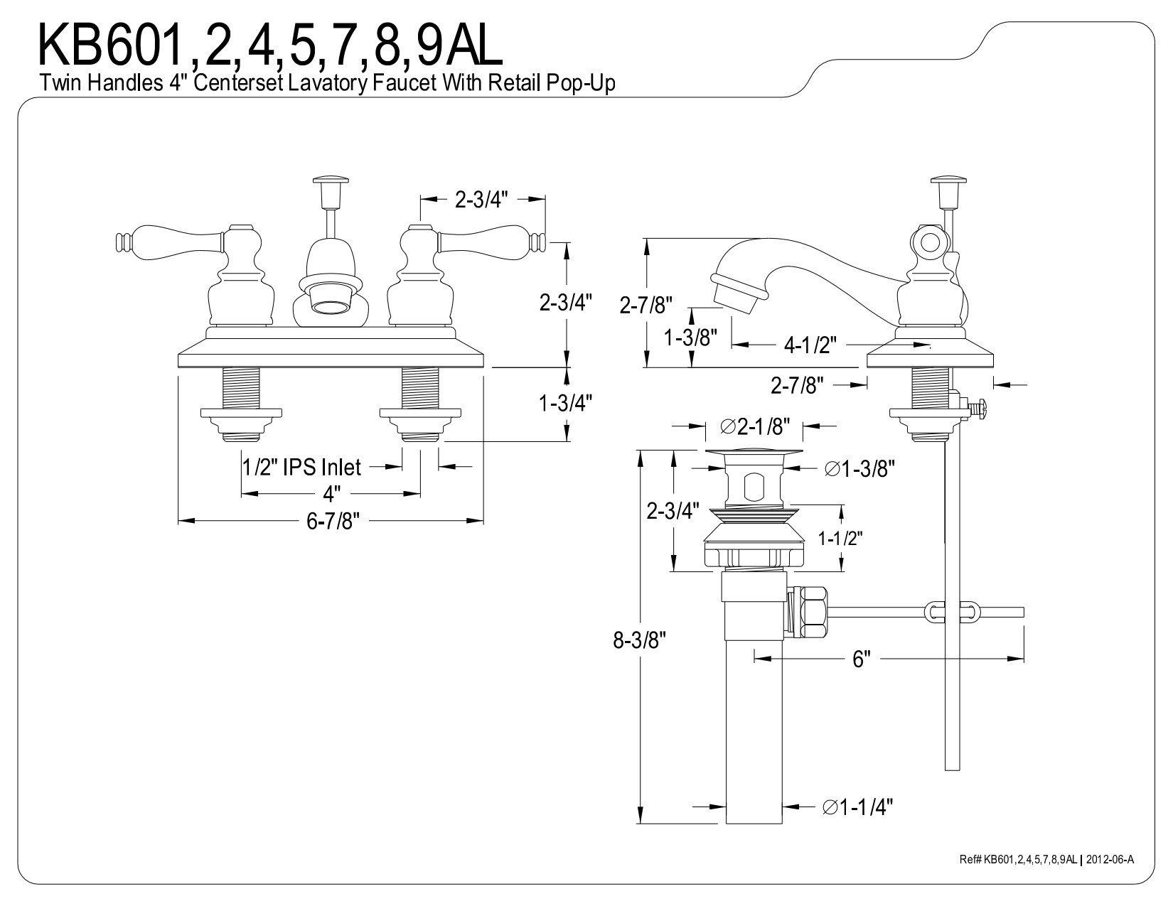 Kingston Brass KB605AL Restoration 4-Inch Centerset Lavatory Faucet with Metal lever handle, Oil Rubbed Bronze