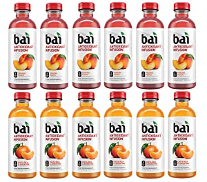 LUV-BOX Variety BAI ANTIOXIDANT Water pack , pack of 12 , 18 fl oz , INFUSION PANAMA PEACH ,INFUSION COSTA RICA CLEMENTINE
