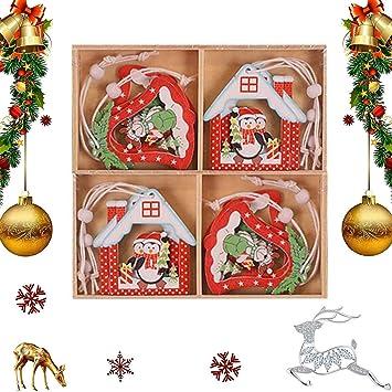 C QIMMU 12 Pezzi Addobbi per Albero di Natale Legno Albero di Natale in Legno Pendenti Natalizie in Legno per Casa Regalo Forma Stella Renna Angelo Albero di Natale in Legno