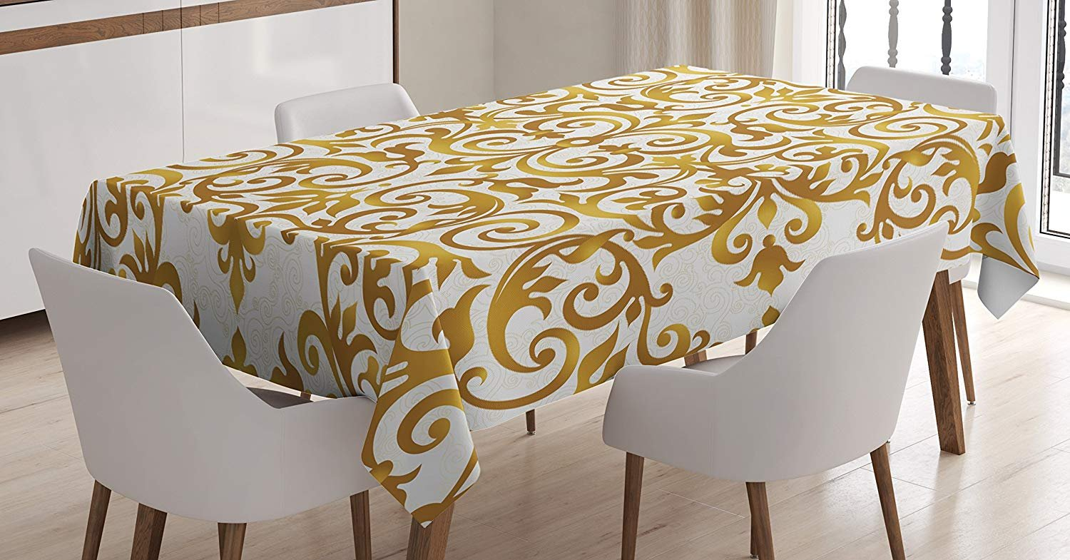MIGAGA Kitchen Decor Tablecloth by, Victorian Golden Lace Antique Baroque Pattern Oriental Ottoman Royal Square Pattern, Dining Room Kitchen Rectangular Table Cover, 60 X 84 Inches, White Gold