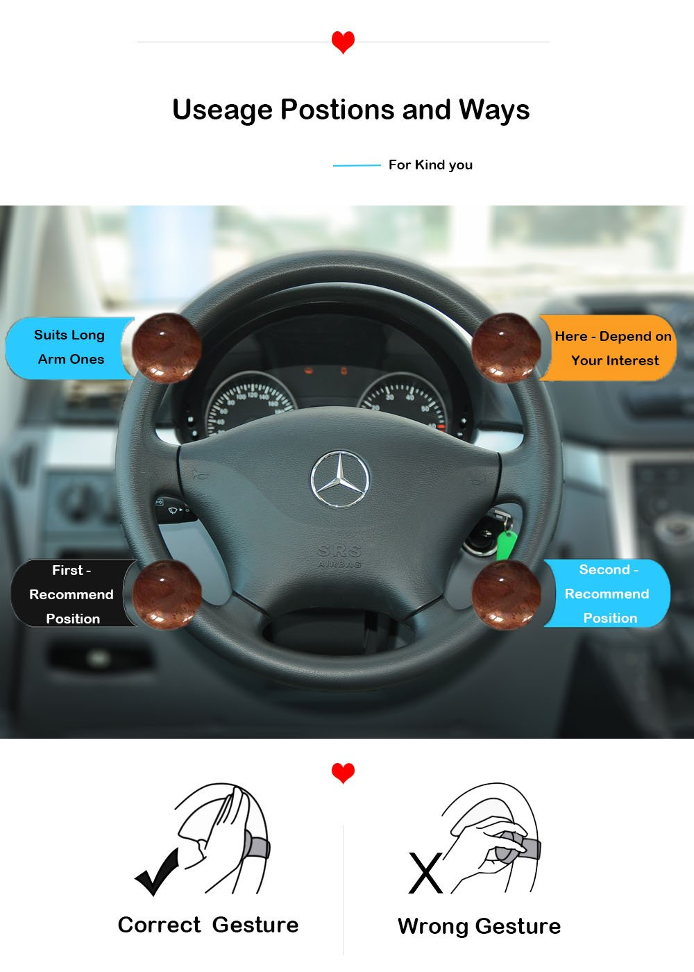 Younglingn Steering Wheel Spinner Knob Handle Power Ball Boosts Spin Knob Clamp Car Accessory for Universal Car Vehicle Brown