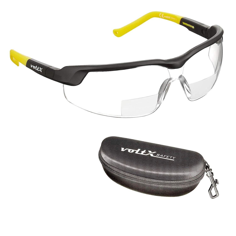 voltX 'GT ADJUSTABLE' (2020 model) Gafas de seguridad de lectura bifocales adjustables, (TRANSPARENTE dioptria +2.5) Certificado CE EN166FT, Lentes UV 400 + estuche de seguridad rígido con bisagras