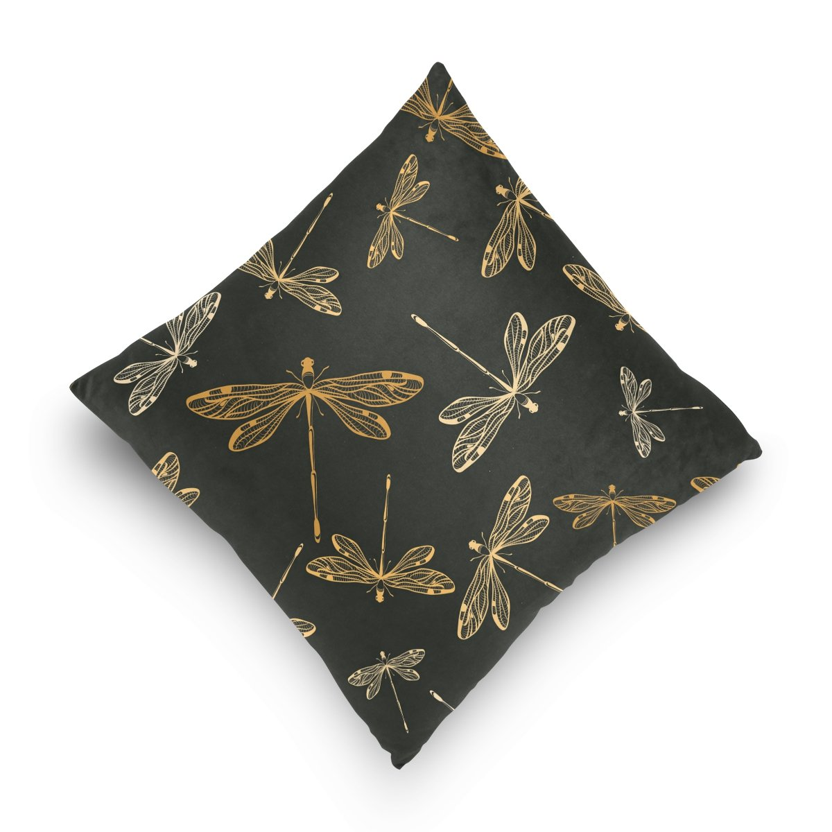 ALAZA Dragonflies Black Pillowcase for Living Room Sofa Car Decorative Cotton Linen Throw Pillow Case Cushion Cover Square 16 X 16 Inches
